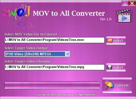 Easily Convert  MOV and Quicktime Video Files to iPod, iPhone, PSP, Zune, etc.